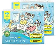 AUDREY SUN Organic Pads with Wings for Women – Ultra Absorbent Cotton Core – No Leaks – Zero Chemicals – Long-