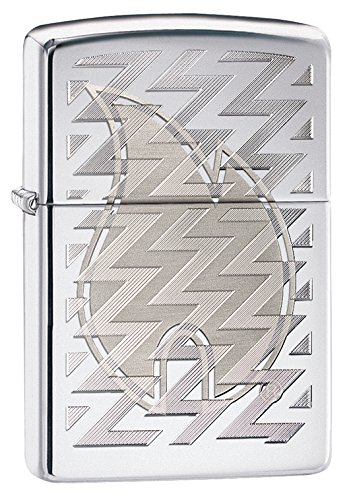Zippo Pocket Lighter High Polished Chrome Z Tread Flame Pocket Lighter