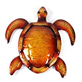 Liffy Home Wall Decor Hanging Turtle Metal & Glass Decorative Wall Art Hang Indoors or Outdoors Brown