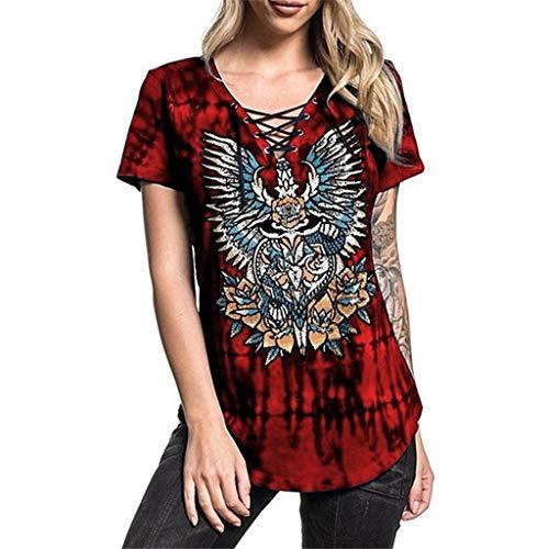 Impresión Pico Cuelgan Ocasionales Vino De Rock Mujer Camiseta Moda Cuello Manga Camisetas La Impresas Con Slyar Personalidad Mujeres Corta Correas Las SxC4Uwfqna