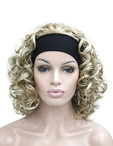 Kalyss 3/4 Half Wig Women's Short Ful Curly Premium Synthetic Hair Wig with Black Headband (Ombre Blonde)