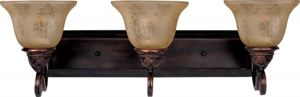 Maxim 11232SAOI Symphony 3-Light Bath Vanity, Oil Rubbed Bronze Finish, Screen Amber Glass, MB Incandescent Incandescent Bulb , 60W Max., Dry Safety Rating, Standard Dimmable, Metal Shade Material, Rated Lumens