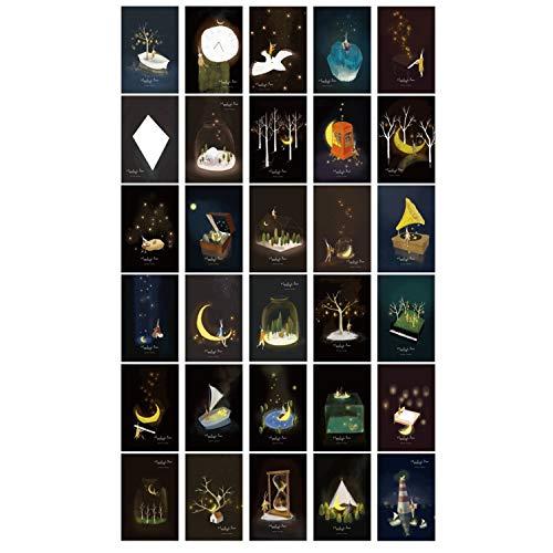 (ZHU YU CHUN 30pcs Vintage Luminous Postcard Glow in The Dark Moon Light Greeting Post Card Novelty Xmas Greeting Cards Gift (Moonlight))