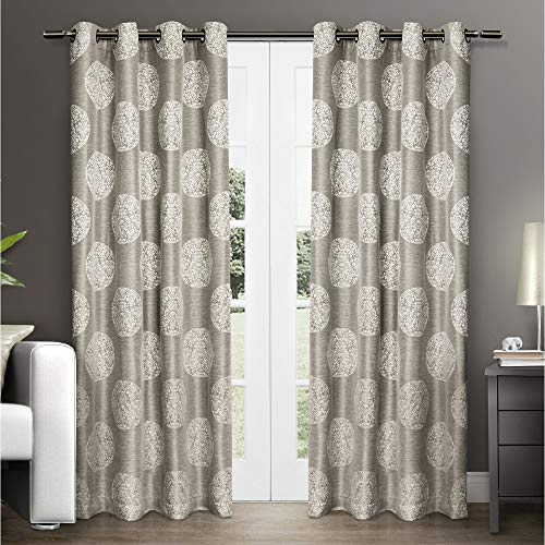 Tan Medallion - Exclusive Home Akola Medallion Linen Jacquard Window Curtain Panel Pair with Grommet Top 54x84 Natural 2 Piece
