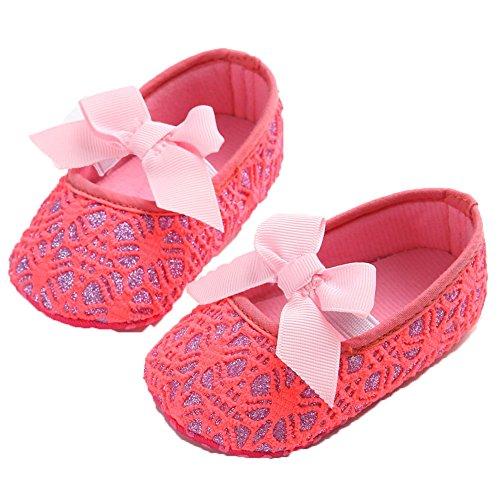 etrack-online purpurina zapatos de bebé Zapatillas Suave Antideslizante Suela Infantil Prewalker blanco roto blanco Talla:12-18months rosso