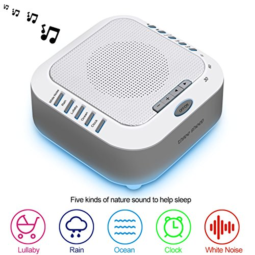White Noise Machine Portable Digital USB Noise-Cancelling Premium Rechargeable Sleep Machines for Baby, Infants, Kids, Adults& for Home, Office with Natural Wind, Ocean Sound Effects(Upgraded 2018)