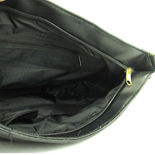 zarla Piel Patchwork de bolso de mano mujer chica Escuela Satchel para mujer trabajo viaje Negro - negro