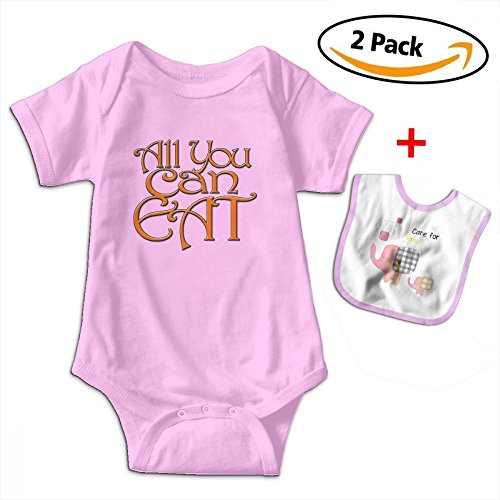 (Selena-A All You Can Eat Hot Booty Baby Short Sleeve Bodysuit Romper for 0-24months (Including Baby Bib))
