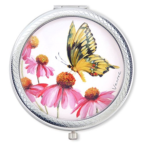Vanroe 'Swallowtail Butterfly' Luxury Compact Mirror in Gift Box - Anniversary Present Idea, UK Artist, Magnified Butterfly Compact