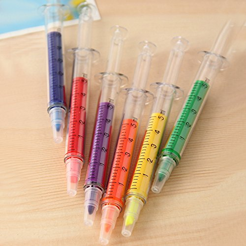 ArMordy - Novelty Candy Color Needle Shape Fluorescent Pen Highlighter Makers Promotional Stationery Glitter (Promotional Highlighter)