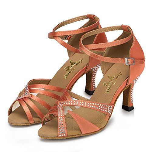 Minitoo Ladies TH165 Custom Make Satin Wedding Ballroom Latin Taogo Dance Sandals Orange JeHTxuF42