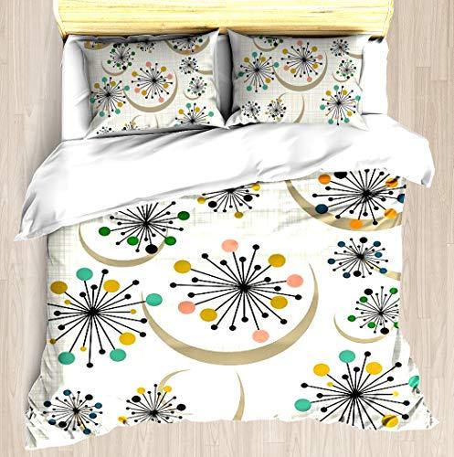 (Eames Era Starbursts - Duvet Cover Set Soft Comforter Cover Pillowcase Bed Set Unique Printed Floral Pattern Design Duvet Covers Blanket Cover King/Cal King Size)