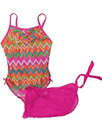 Girls 1 PC Pink Chevron ZigZag Swimming Swim Suit & Skirt Wrap