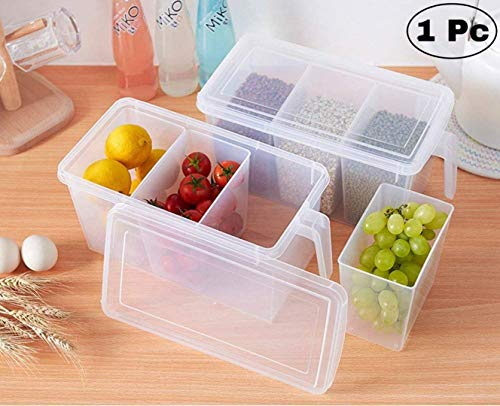 NYAL ENTERPRISE Refrigerator Food Organizer Container Basket Fruits and Vegetable Storage Box with 3 Smaller Bins Boxes, Handle and Lid (1) Price & Reviews