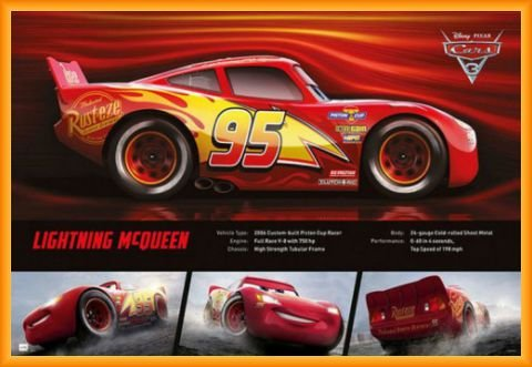 Cars Poster and Frame (Plastic) - 3, Lightning Mcqueen (36 x 24 inches)
