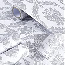 Peel and Stick Decorative Grey Damask Contact Paper Wallpaper Self Adhesive Vinyl Shelf Drawer Liner for Kitchen Cabinets Sheves Drawer Wall Decal (24x197 Inches)
