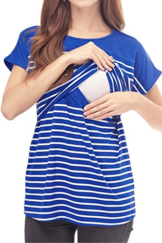 74ecfd475f5 Smallshow Women's Maternity Nursing Tops Striped Breastfeeding T-Shirt
