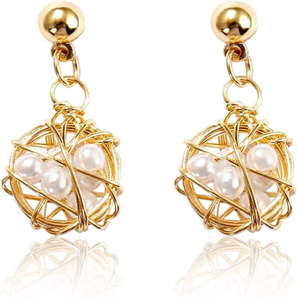 Ranikeer Pendientes para mujer, Envuelto en pendientes de perlas con alambre de metal, elegante bisutería única para mujeres, regalo perfecto para cumpleaños, navidad, san valentín
