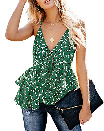 Valphsio Womens Ruffle Cami Blouse V Neck Ruffle Peplum Adjustable Strap Crop Top (Medium, Green) (Layered Ruffle Blouse)