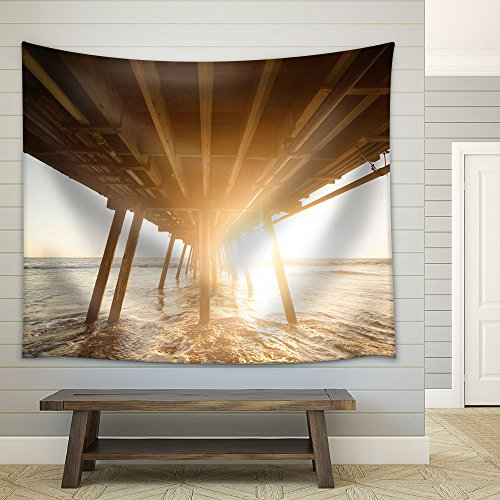 Wooden Bridge at Sunset Fabric Wall