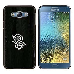 KLONGSHOP // Cubierta de piel con cierre a presión Shell trasero duro de goma Protección Caso - lobo peligroso - Samsung Galaxy E7 E700 //