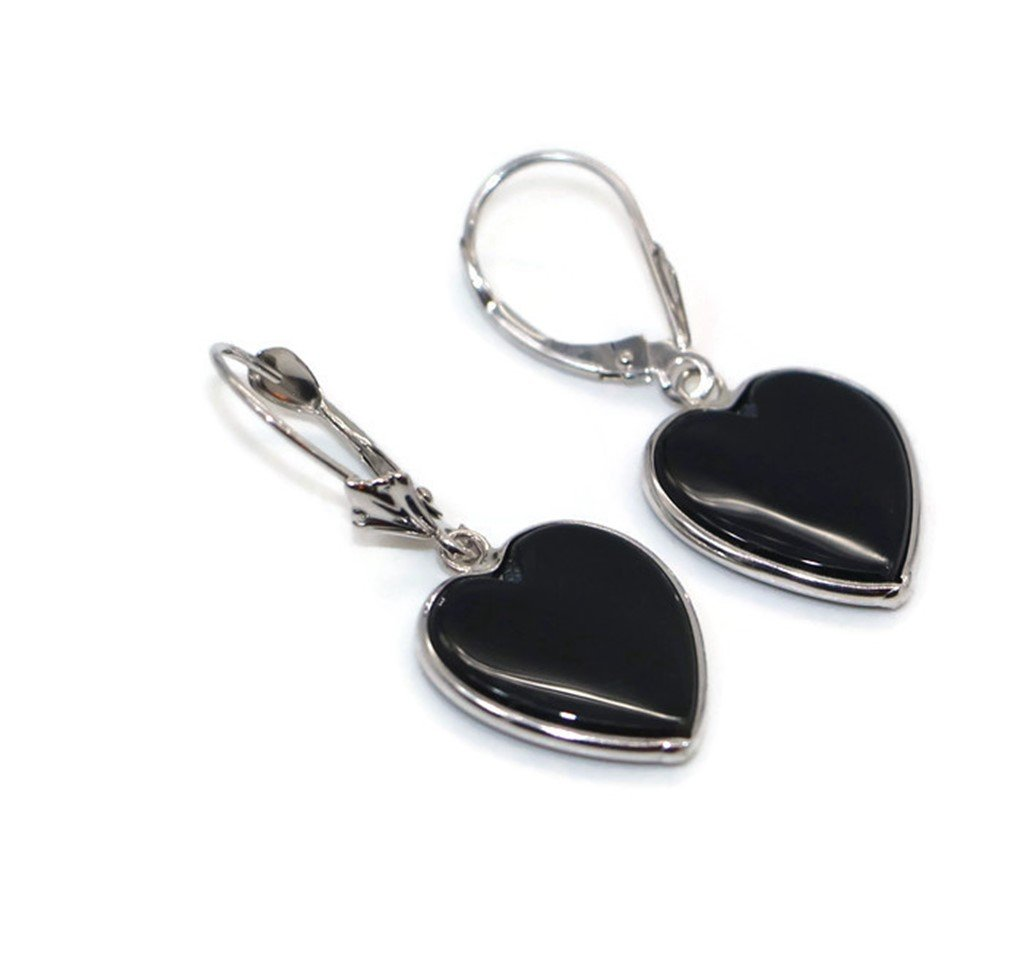 Onyx Black Heart Earrings set in 14K White Gold,Leverbacks by Sophia Fine Jewelry (Image #4)