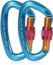 Climbing Carabiners, YAKAON 2pcs Aluminum Alloy Locking Carabiner Clips 25KN Heavy Duty D-Ring Carabiner Hook