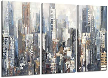 Hardy Gallery Abstract City Picture Wall Art: Urban Downtown Artwork Painting Print on Wrapped Canva