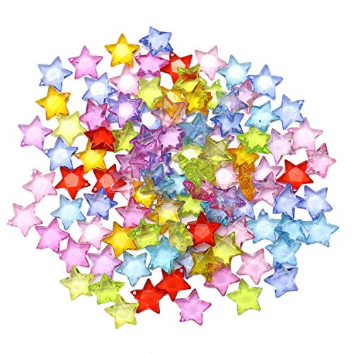 (JETEHO 100 Pcs Assorted Colors Mixed Star Plastic Pendants Charms Loose Bead for Jewelry Marking DIY Project)
