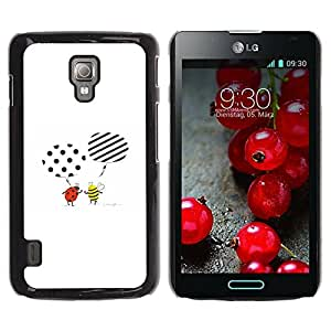 Paccase / SLIM PC / Aliminium Casa Carcasa Funda Case Cover para - Cute Cartoon Bee Ladybug White - LG Optimus L7 II P710 / L7X P714