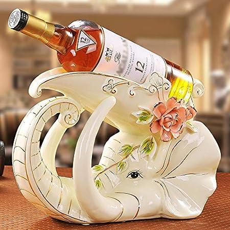 JPL Estante de vino Estantes de vino Cerámica Elefantes Forma Personalidad Creativa Lujosa Vinoteca Decoración Sala de estar Restaurante Cocina Hogar Práctico Estante de vino