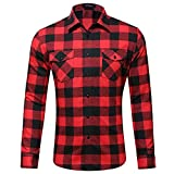 MCEDAR Men's Plaid Flannel Shirts-Long Sleeve Casual Button Down Slim Fit Outfit for Camp Hanging Out or Work (M, RED)
