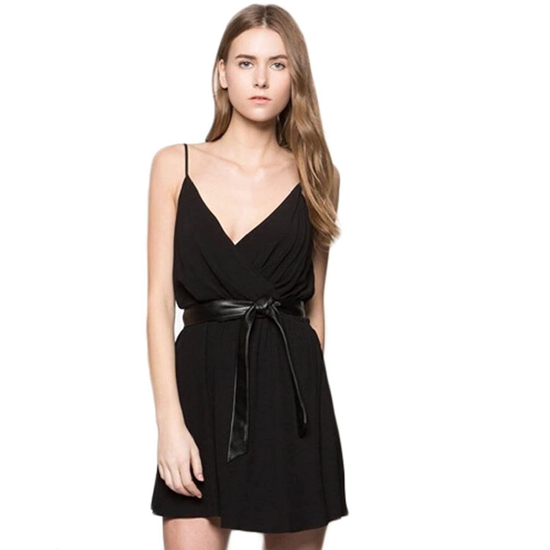 Tonsee Frauen schwarz Kleid Sommer Camisole Chiffon Maxi V ...