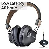 Avantree 40 hr Wireless Bluetooth 4.1 Over-the-Ear Foldable Headphones/Headset with Mic, APTX LOW LATENCY Fast Audio for TV PC Cell Phones, with NFC, Wired mode - Audition Pro [2-Year Warranty]