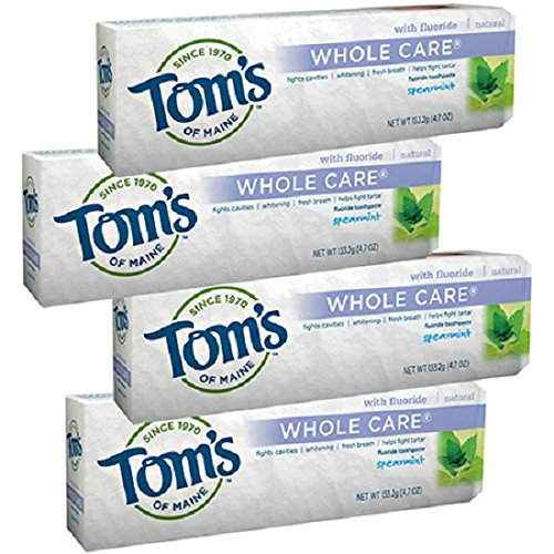 Tom's of Maine Whole Care Toothpaste with Fluoride, Spearmint 4.7 oz (Pack of - Toothpaste Spearmint Care Whole
