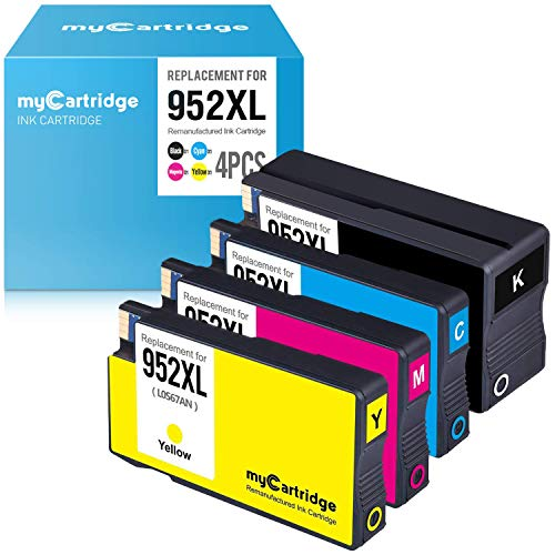 myCartridge Re-Manufactured Ink Cartridge Replacement for HP 952XL 952 XL (1 Black, 1 Cyan, 1 Magenta, 1 Yellow, 4-Pack)
