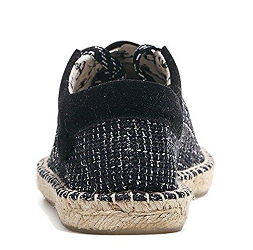 Idifu Mens Confortables Bas Slip Sur Espadrilles Plates Mocassins Chaussures Noires