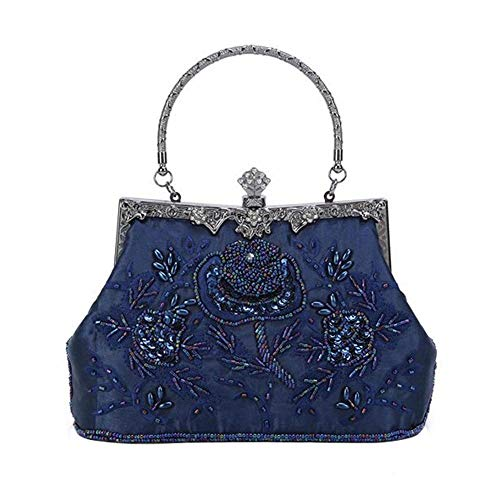 Women's Handbag Vintage Rose Embroidered Beaded Sequin Evening Bag Wedding Party Clutch Purse (Navy ()