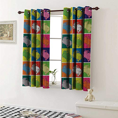 (Cars Thermal Insulating Blackout Curtain Italian Cars in Colorful Frames and Pop Art Style Grunge Display Artful Composition Curtains Girls Room W55 x L39 Inch Multicolor)