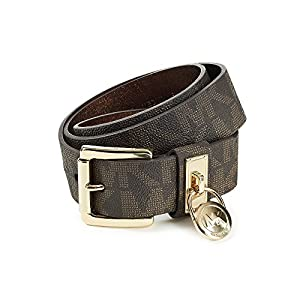Michael Kors Chocolate Hamilton Lock Monogram Belt