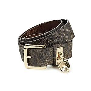 Michael Kors Chocolate Hamilton Lock Monogram Belt