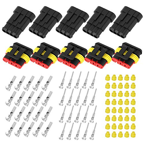 MLMLH Car Wire Connector - 5 Kits 4-pin Way Sealed Waterproof Electrical Wire Connector Plug for Car Automobile: