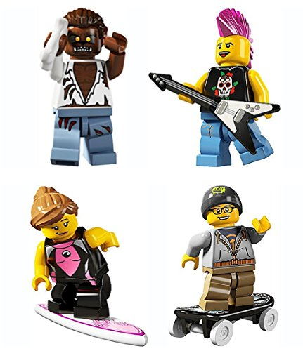LEGO 8804 Minifigure Series 4 Collectible Bundle Figure Set: Werewolf Monster, Punk Rocker, Surfer Girl, Skateboarder ()