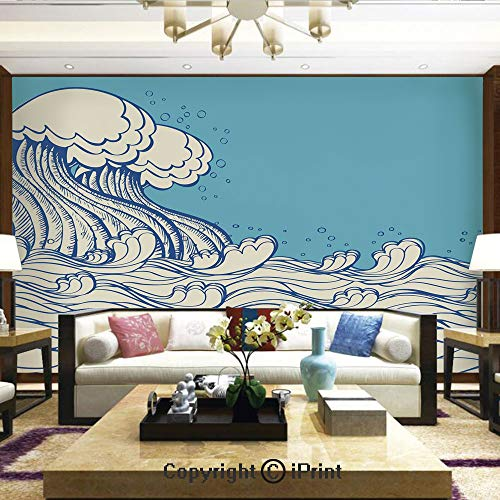Lionpapa_mural Wall Decoration Designs for Bedroom,Kitchen,Self-AdhesiveAbstract Doodle Style Wave in The Ocean Sea Soft Color Palette Marine Life Image Decorative,Home Decor - 66x96 inches