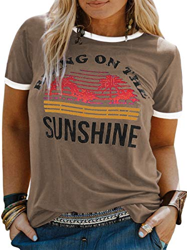 YASAKO Plus Size Women Tops Short Sleeve T Shirts Bring On The Sunshine Casual Tee Shirts Cute Graphic Tunic, Khaki, 5X-Large