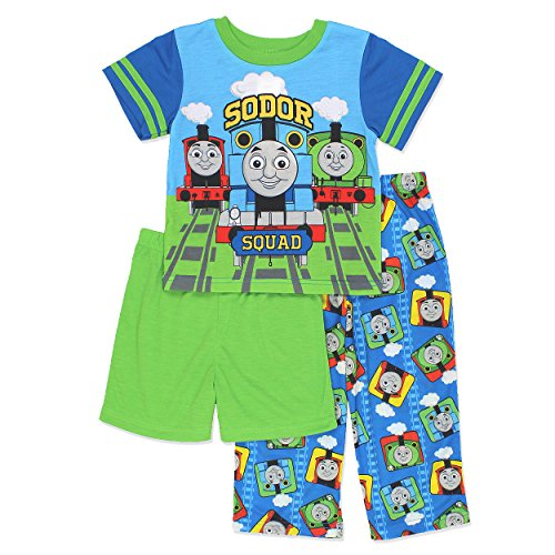 Thomas The Train & Friends Boys 3 Piece Pajamas Set (4T, Blue/Green)