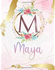 Maya: Personalized Sketchbook with Letter M Monogram & Initial/ First Names for Girls and Kids. Magical Art & Drawing Sketch Book/ Workbook Gifts for Her (Artists & Illustrators) to Create & Learn to Draw - Girly Rose Gold Watercolor Cover.