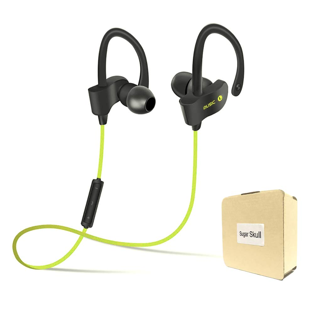 Wireless Bluetooth Headset Headphones Super Magnetic Neckband Noise Cancelling Microphone S4 Sport Running Universal 4.1 Clear Loud in-Ear Earphones - Yellow by Sugar Skull