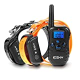 Esky 330 Yards Electronic Dog Training Collar EP-998DR-300B4 1 for 2 Ecollar, Beep, Vibration Shock Collar with Wireless Remote Adjustable Durable Water Proof Rechargeable Control Operation for 2 Large, Medium and Small Dogs (15-120lbs)