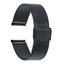 TRUMiRR 16mm Watchband Mesh Stainless Steel Metal Watch Band Strap Bracelet for Motorola Moto 360 2 (2nd Gen 42mm Women's 2015), with Tool and Spring Bar, Black